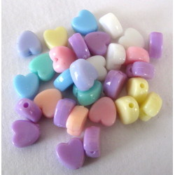 50p pack of 30 small heart beads