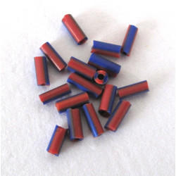 Bugle bead, red and blue two tone, 20g