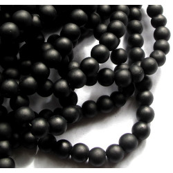 Black frosted 6mm beads, per strand