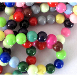 8mm mixed colour strands of glass beads