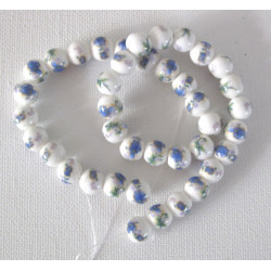 Ceramic floral beads, blue flowers, 1 strand