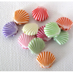 Acrylic shell beads, pack of 25