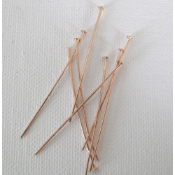 "Rose gold colour headpins, 2"", pack of 50"