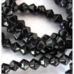 4mm black glass bicones, per strand