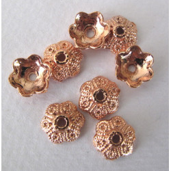 Rose gold colour bead caps, pack of 20