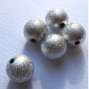 16mm stardust beads, silver colour, pack of 12