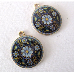 Blue patterned pendants, pack of 2