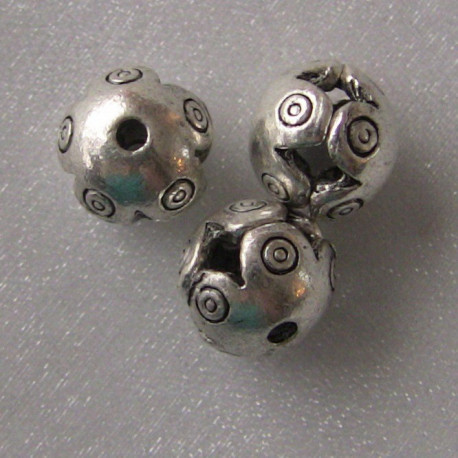 F4137 - Antique silver colour hollow decorative bead. Pack of 10.