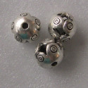 Antique silver colour hollow decorative bead. Pack of 10.