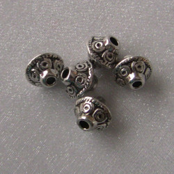 F4123 - Antique silver colour decorated bicon beads.  Pack of 10.