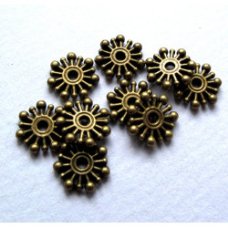 Antique brass colour snowflake beads, pack of 20