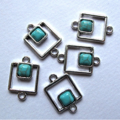 Connectors with turquoise, pack of 5
