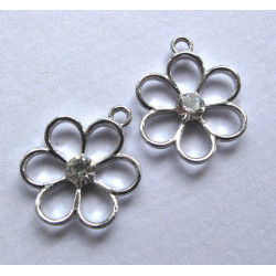 Pair of daisy drops with rhinestones