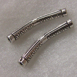 Small bracelet bar, antique silver colour. Sold in pairs.