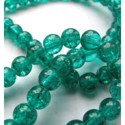 6mm green crackle beads, long strand