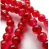 6mm red crackle beads, long strand