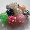 Sparkle beads, 14mm mix, pack of 10