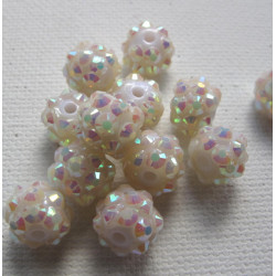 White sparkle beads, pack of 10