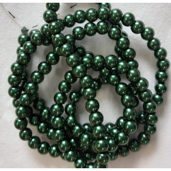 6mm dark green pearls, long strand