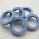 Blue wooden ring beads, pack of 5