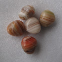 Czech glass pebble bead, stripes of brown/red. Pack of 10.