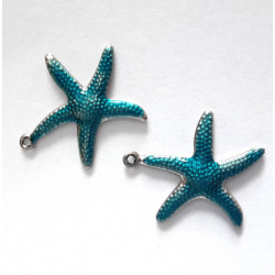 Starfish charms, blue enamel style, pack of 2