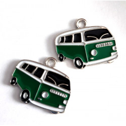 Green camper vans, pack of 2