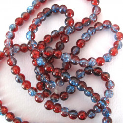 Red and blue crackle glass, per strand