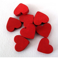 Red wooden heart beads, pack of 10
