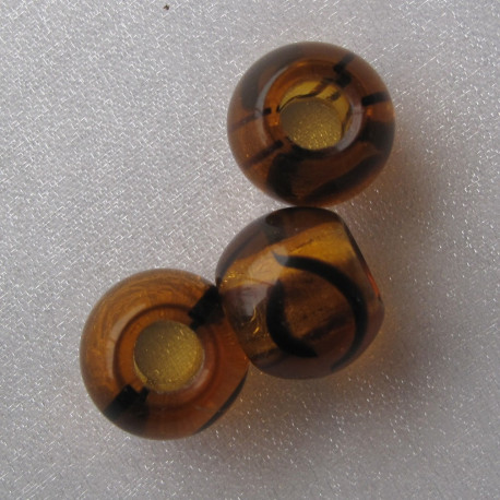 CZ1500 - Czech glass large hole bead, tortoise shell brown. Pack of 10.