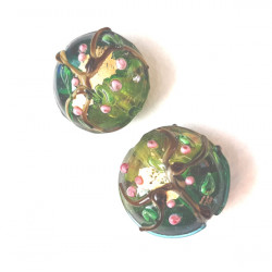Lampwork green glass coin beads, pack of 2