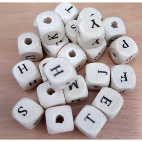 Wood alphabet beads. Pack of 100