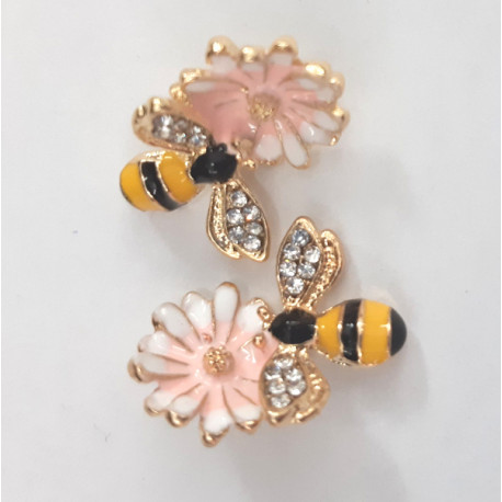 Bee with flower charms, pack of 2