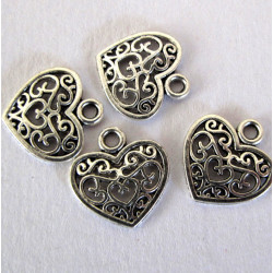 Filigree hearts, pack of 5