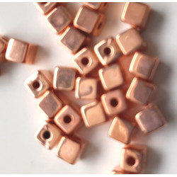 4mm rose gold colour cubes, pack of 50