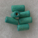 Wooden tube beads, turquoise. Pack of approx 65.