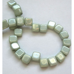 Green 2 hole tile beads, strand of 30