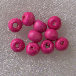 Pink wooden beads. Pack of approx 145.