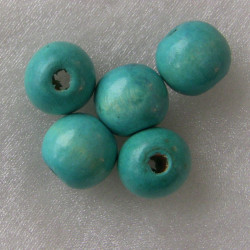 Turquoise wooden bead. Not perfect rounds. Pack of 10.