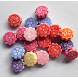 Mixed colour flower beads, pack of 50