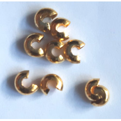 Gold col crimp covers, 4mm, pack of 10
