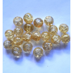 Golden yellow crackle glass beads, pack of 20