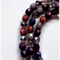 6mm purple Czech fire polished beads, mixed shades