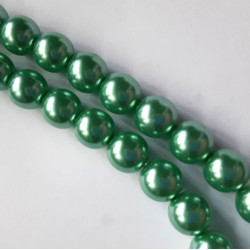8mm soft green glass pearl beads