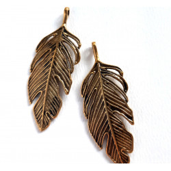 Long feather or leaf charm, pack of 2