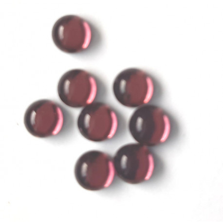 6mm foil backed cabs, amethyst glass, pack of 10