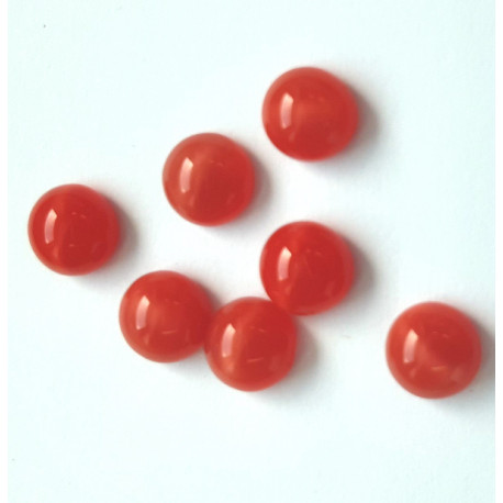 6mm coral red glass cabochon, pack of 10