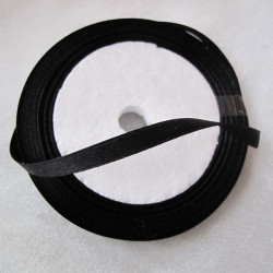 Satin style black ribbon. 25 yds roll.