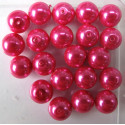 10mm bright pink glass pearls
