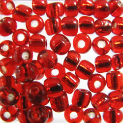 Size 6 silver lined red. Pack of approx. 10g.
